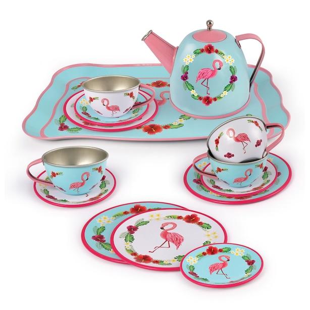 Flamingo-themed tin tea set