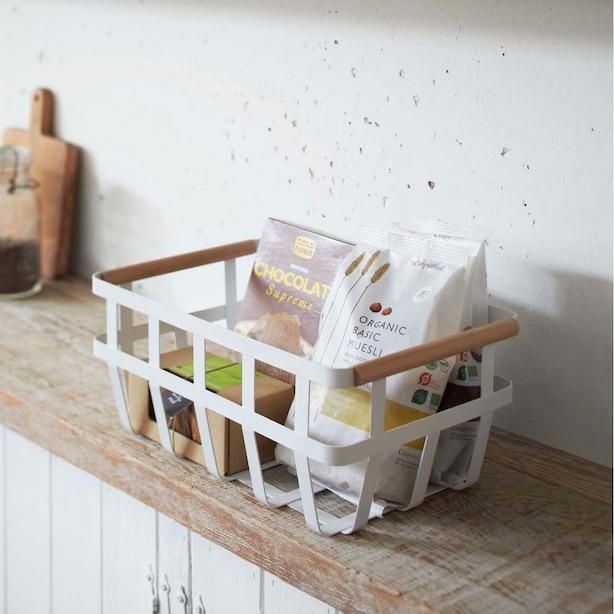 Yamazaki Tosca Dual-Handle Storage Basket White