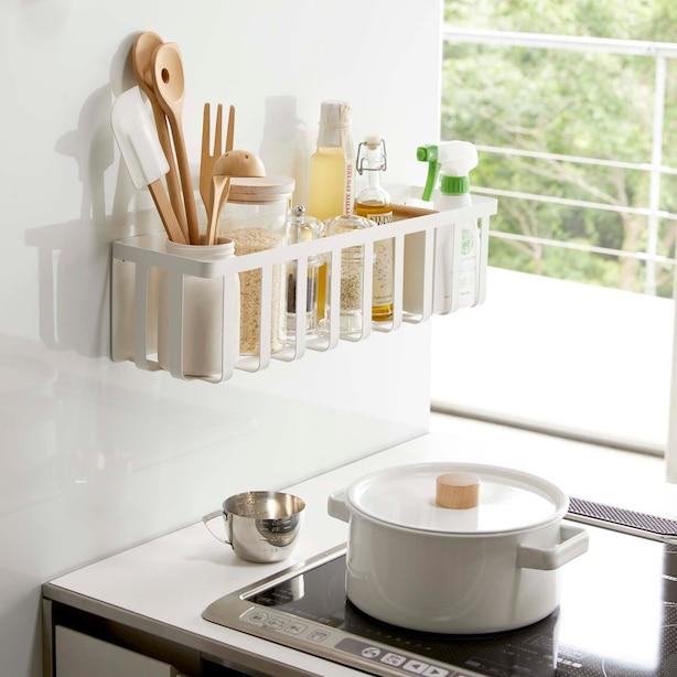 Yamazaki Tosca Magnet Kitchen Storage Basket White