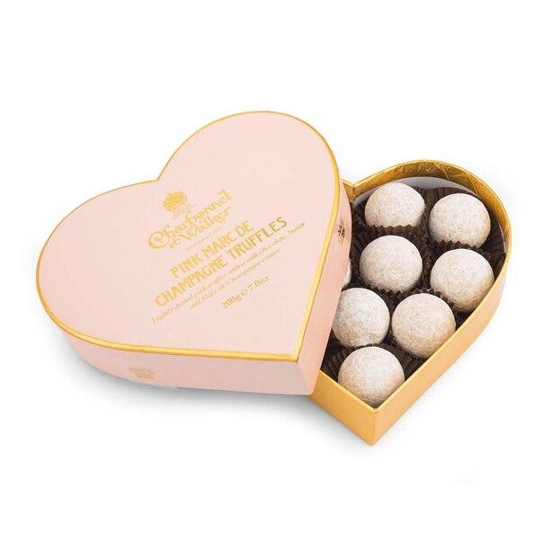 Pink Marc de Champagne Chocolate Truffles Heart 200g
