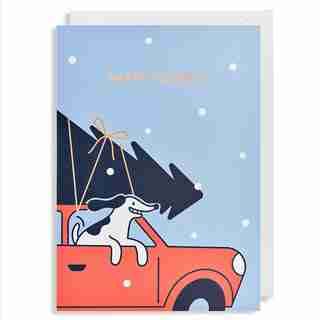 Holiday Card Dog in Car