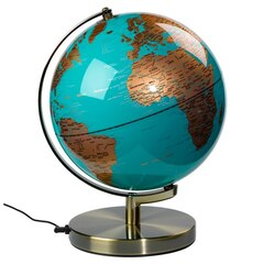 Lighted Globe - Turquoise & Antique Brass