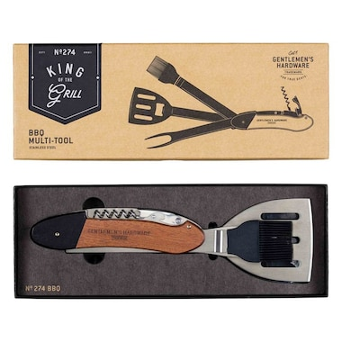 GENTLEMEN'S HARDWARE BBQ MULTI-TOOL, WOOD & STAINLESS STEEL