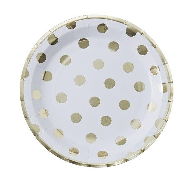 Ginger Ray Pick & Mix White Polka Dot Plates