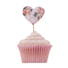 Ginger Ray Boho Cupcake Sticks Floral Hearts - Set of 10