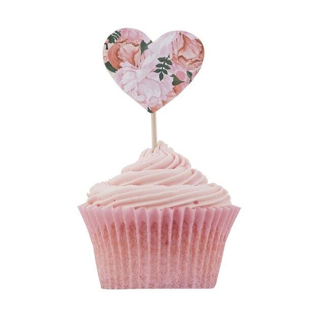 Ginger Ray Boho Cupcake Sticks Floral Hearts - Set of 10