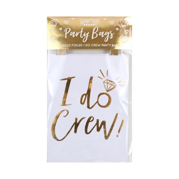 Ginger Ray I Do Crew Party Bags Gold Foiled Set of 5
