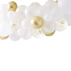 BOTANICAL SHOWER GOLD CHROME BALLOON ARCH W BOTANICS