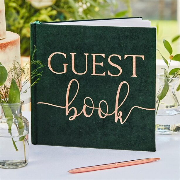 BOTANIC WEDDING GREEN VELVET GUEST BOOK