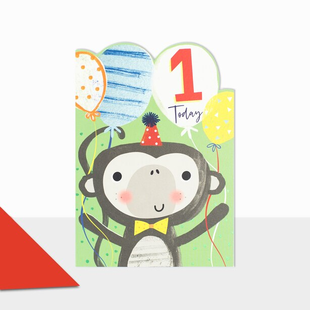 Paper E. Clips Birthday Card 1 Monkey