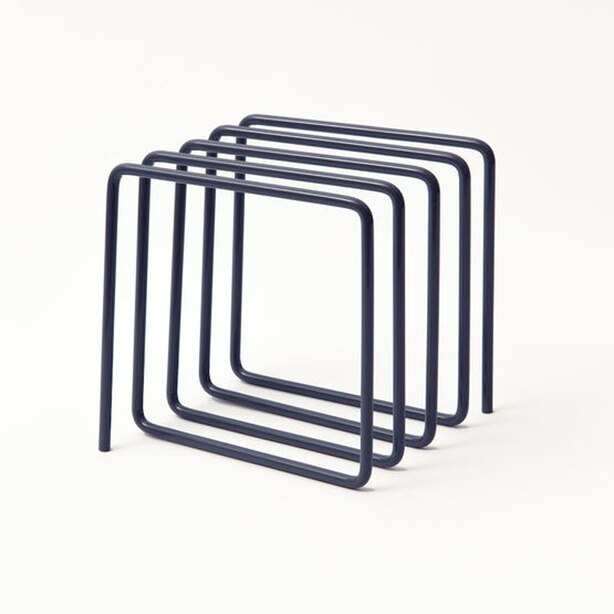 Metal Magazine & Vinyl Rack Navy Blue