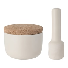 LEO STONE MORTAR AND PESTLE WITH CORK LID