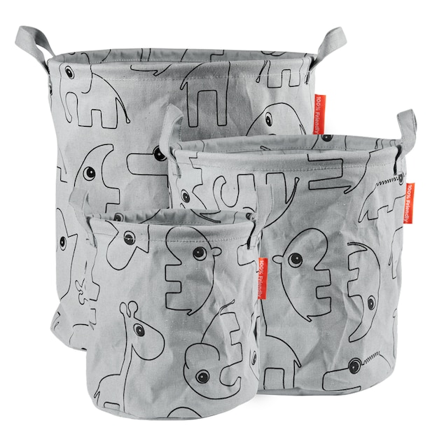 Done by Deer Storage baskets 3 Pieces Contour Grey