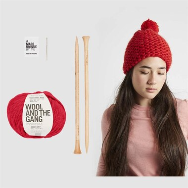 Wool and the Gang Happy Daze Beanie Knitting Kit Lipstick Red
