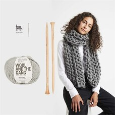 Wool and the Gang Triple Threat Scarf Knitting Kit Tweed Grey