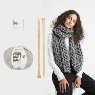 Wool and the Gang Triple Threat Scarf Knitting Kit Tweed Grey