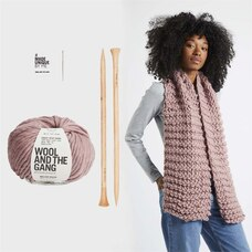 Wool and the Gang Triple Threat Scarf Knitting Kit Mellow Mauve