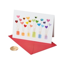 Papyrus Valentine's Day Card - Rainbow Hearts in Jar