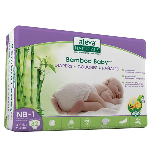 Aleva Naturals® Bamboo Baby® Diapers Newborn-Size 1 32-Pack