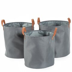 Grey Woven Nested Storage Hampers - Set of 3