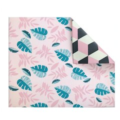 The Pieces Double-Sided Play Mat, Pink Leaf/Geo