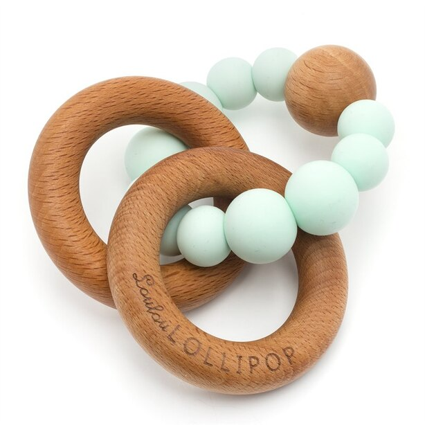 Loulou Lollipop Wood and Silicone Rattle Mint