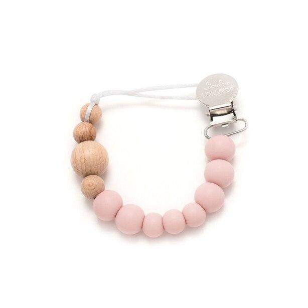 Loulou Lollipop Color Block Pacifier Clip Pink Quartz