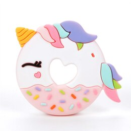 LOULOU LOLLIPOP SILICONE BABY TEETHER, PINK UNICORN DONUT
