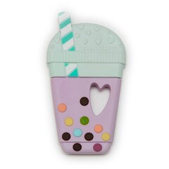 LOULOU LOLLIPOP SILICONE BABY TEETHER, TARO MILK BUBBLE TEA
