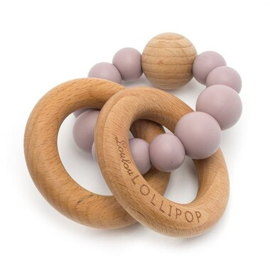 Loulou Lollipop Bubble Wood and Silicone Dusty Mauve