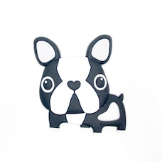LOULOU LOLLIPOP SILICONE BABY TEETHER, BLACK BOSTON TERRIER DOG