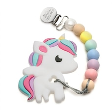 Loulou Lollipop Teether Holder Set Rainbow Unicorn Cotton Candy