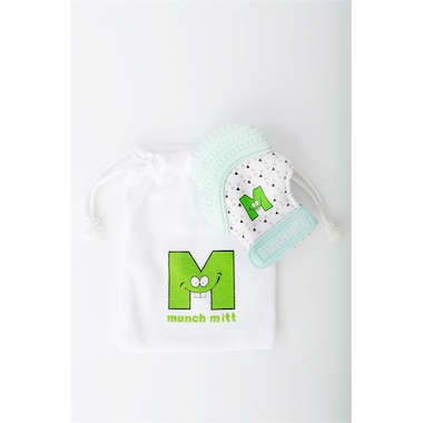 MUNCH MITT™ BABY TEETHING MITTEN MINT GREEN TRIANGLES