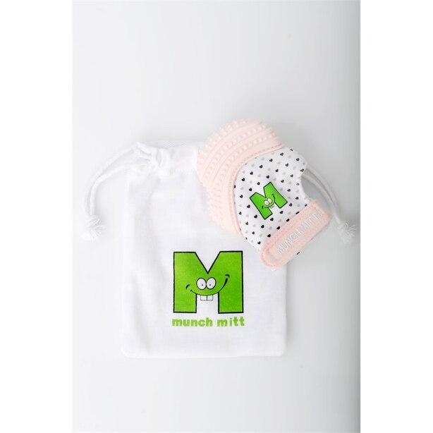 MUNCH MITT™ BABY TEETHING MITTEN PASTEL PINK HEARTS