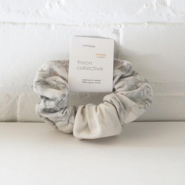 Organic Cotton Hair Scrunchie Grey Marble