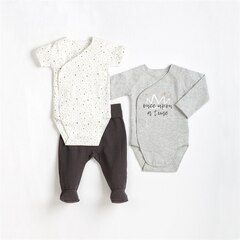 2 DIAPER SHIRTS AND PANT KNIT, HEATHER GREY NB