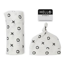 Lulujo - Hello World Blanket & Knotted Hat - XO