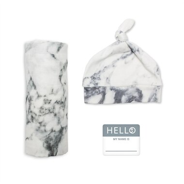 Lulujo Hello World Blanket and Knotted Hat Set Marble Newborn