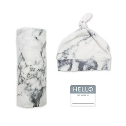Hello World Blanket and Knotted Hat Set, Marble Newborn
