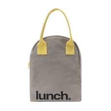 Zipper Lunch Bag 'Lunch' Grey / Yellow