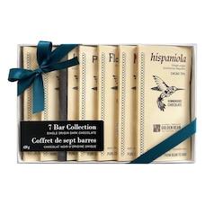 boîte-cadeau de 7 tablettes de chocolat noir d'origine unique