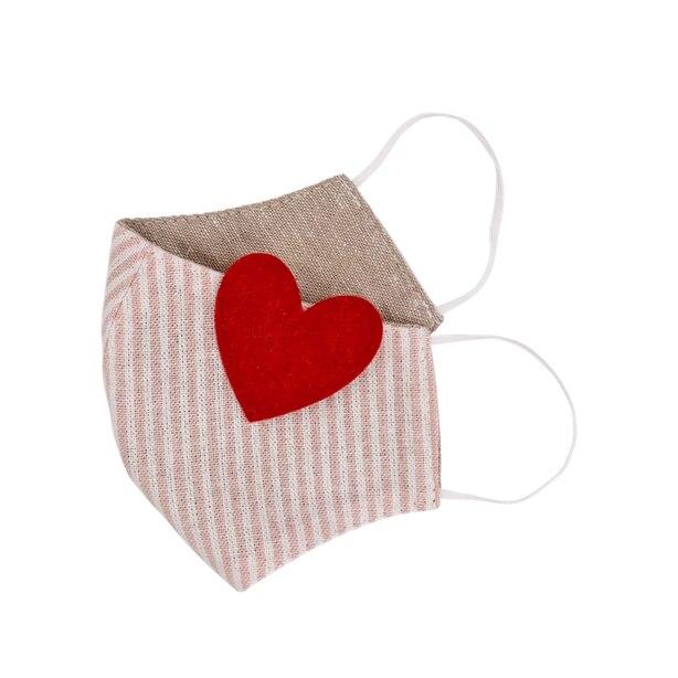 Heart Stripe Non-Medical Face Mask for Little Kids