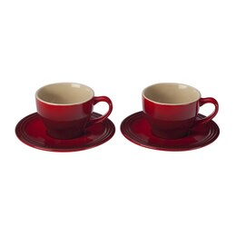 Le Creuset Cappuccino Cups & Saucers Set of 2 - Cherry
