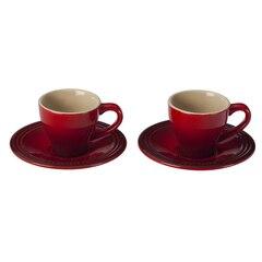 Le Creuset Espresso Cups & Saucers Set of 2 - Cerise
