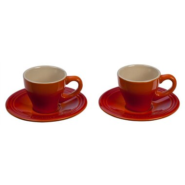 Espresso Cups & Saucers Set of 2 - Flame