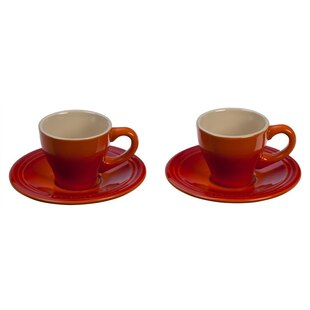 Le Creuset Espresso Cups & Saucers Set of 2 - Flame