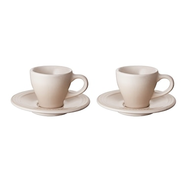 ESPRESSO CUPS AND SAUCERS - MERINGUE, SET OF 2