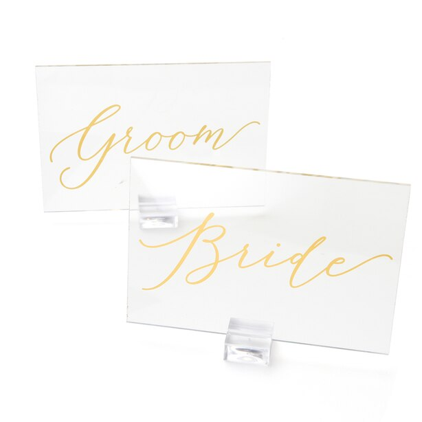 Style Me Pretty Acrylic Bride Groom Signs
