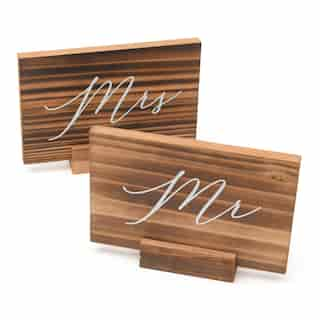 Style Me Pretty Wood Mr and Mrs Signs