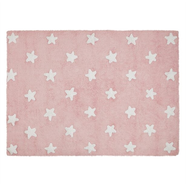 Lorena Canals Washable Rug - Pink-White Stars